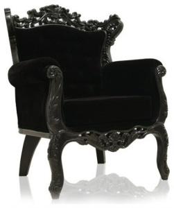 Black mohair velvet upholstery on a regal chair