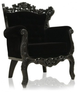 Black mohair velvet upholstery on a regal chair