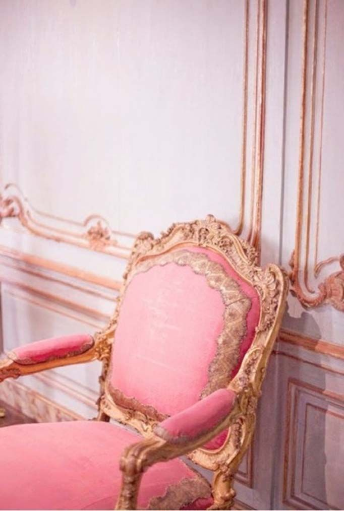 Luscious velvet in pink; upholstery on a chair