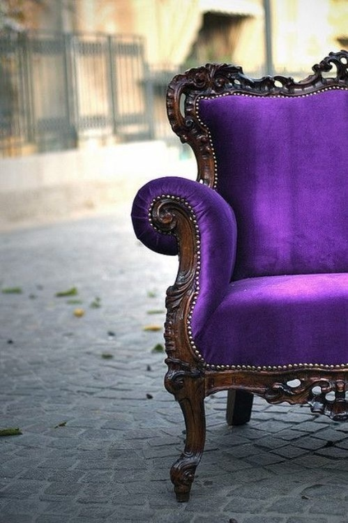 Purple Mohair Velvet Chair