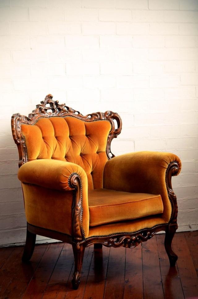 Golden Orange Mohair Velvet