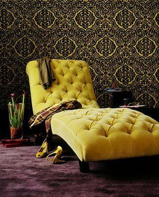 Yellow Mohair Velvet Chaise