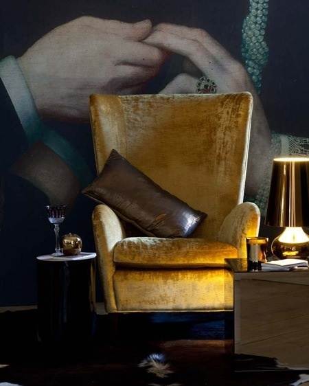 Contemporary Upholstery with Golden Yellow Mohair Velevet