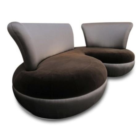 Brown Silk Velvet Couch