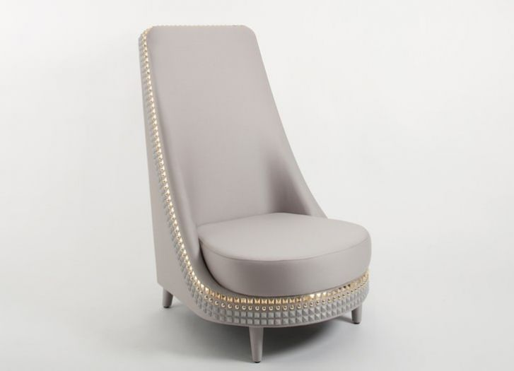 Beige Velvet Chair