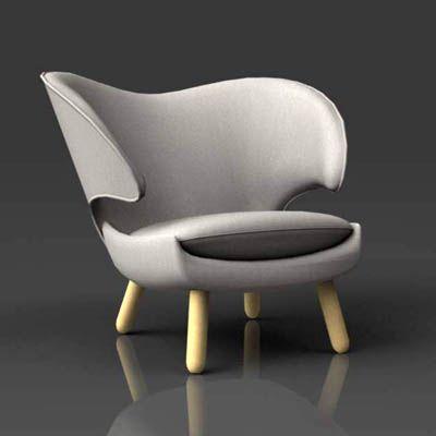 Fine Grey Velvet Finn Juhl Pelikan chair