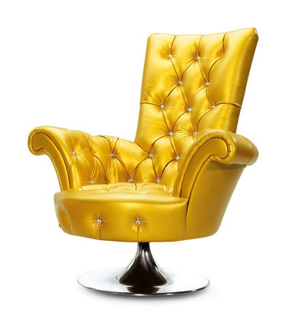 Yellow Gold Faux Leather Upholstery Chair