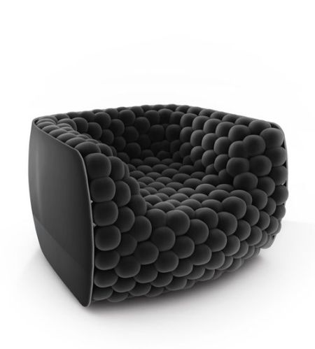 Black  Mohair Velvet Contemporary Chair