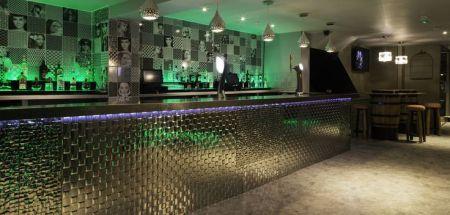 Metallic Bar and Green Lighting