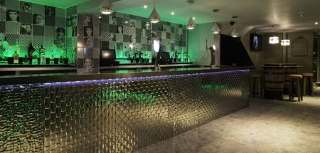 Metallic Bar and Green Lighting