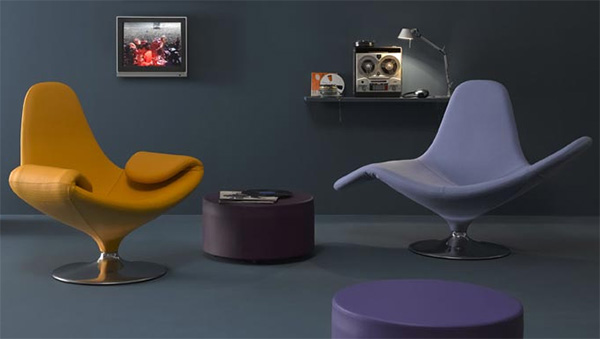 Unusual faux leather chairs in purple and brown