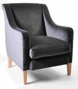 Grey Velvet Upholstered Chair