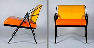 Orange Faux Leather Chair Upholstery