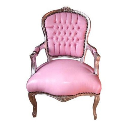 Pink Faux Leather Upholstery Chair