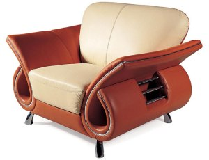 brown beige faux leather upholstery