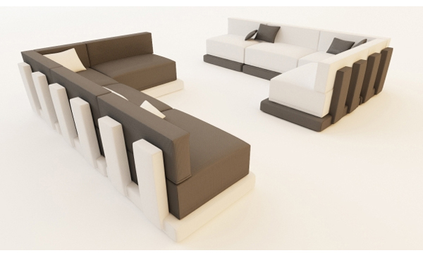 Modern brown and white faux leather corner sofa