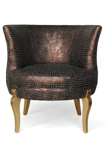 Crocodile faux leather skin chair