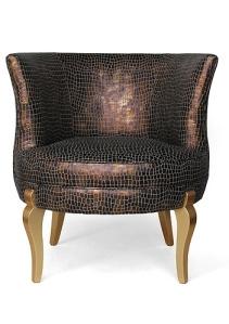 Crocodile faux leather skin chair