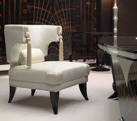 Silk Upholstery on High Back Neoclassical Chair