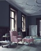 Pink chairs grey walls