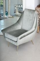 Silver Silk Velvet Armchair